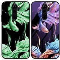 Чехол Xiaomi светящийся в темноте для Xiaomi Redmi Note 8 Pro Рыбка / Фиолетовый