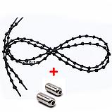 Шнурки для обуви с узелками эластичные с металлическими фиксаторами концов шнурка VOLRO (vol-504), фото 5