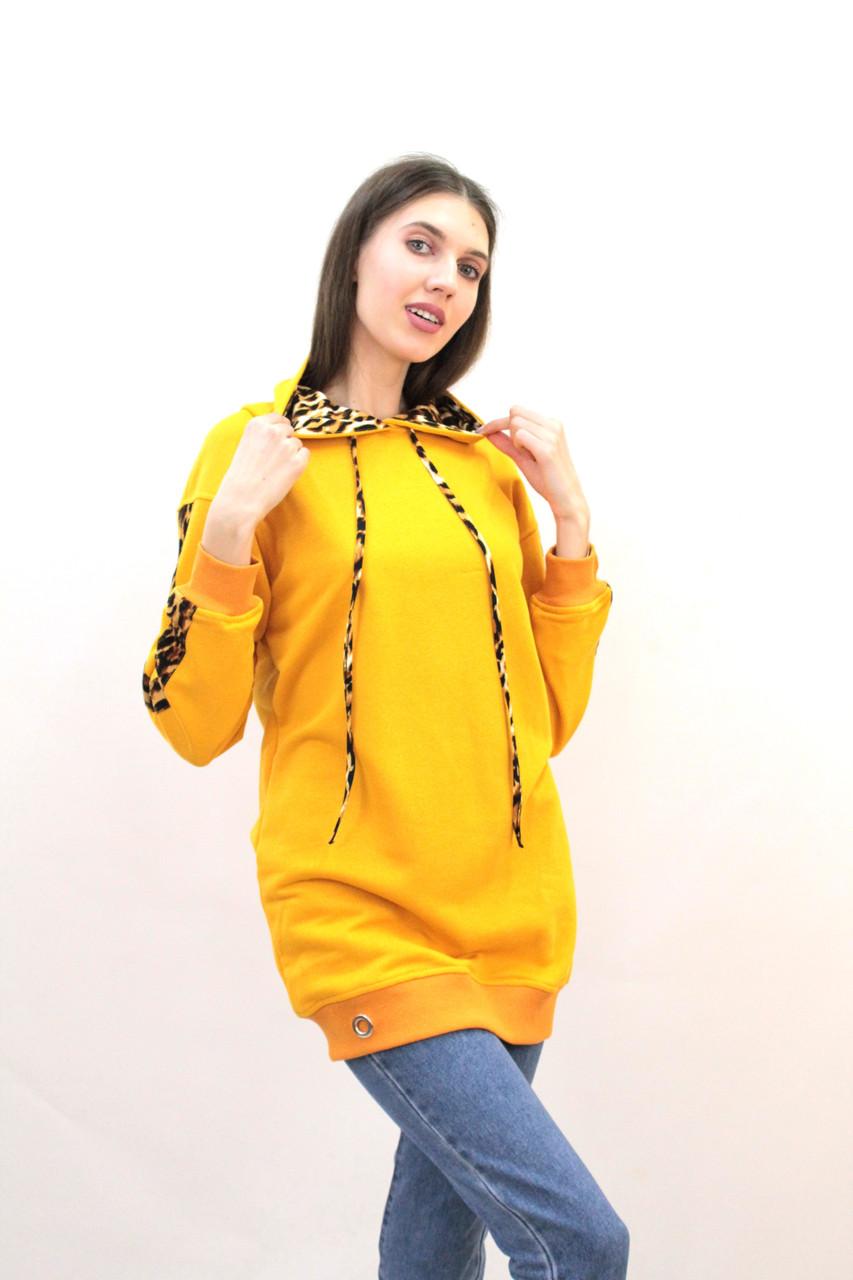 Худи женское горчичного цвета удлиненное с капюшоном и леопардовым декором