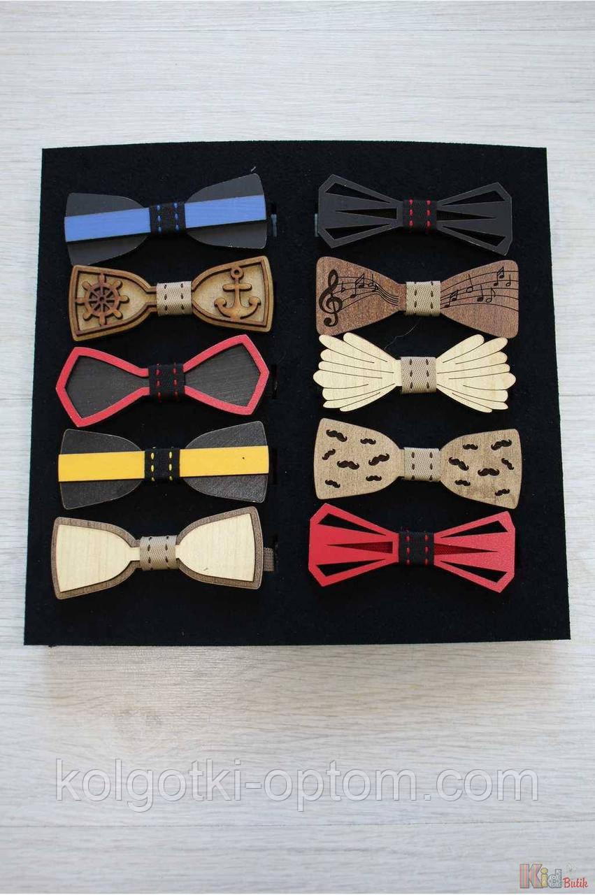 ОПТОМ Бабочка деревянная на резинке для мальчика Nekibuki 2125000661704