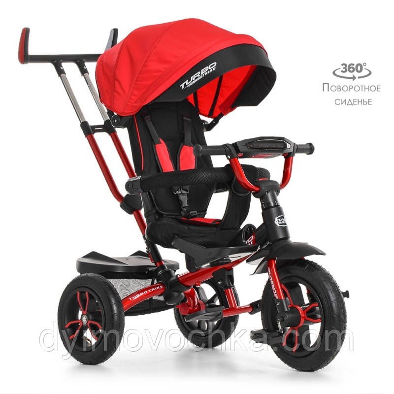 Велосипед M 4058-1 (1шт)три кол.резина (12/10),колясочн,поворот,регул.руля,свет,красный