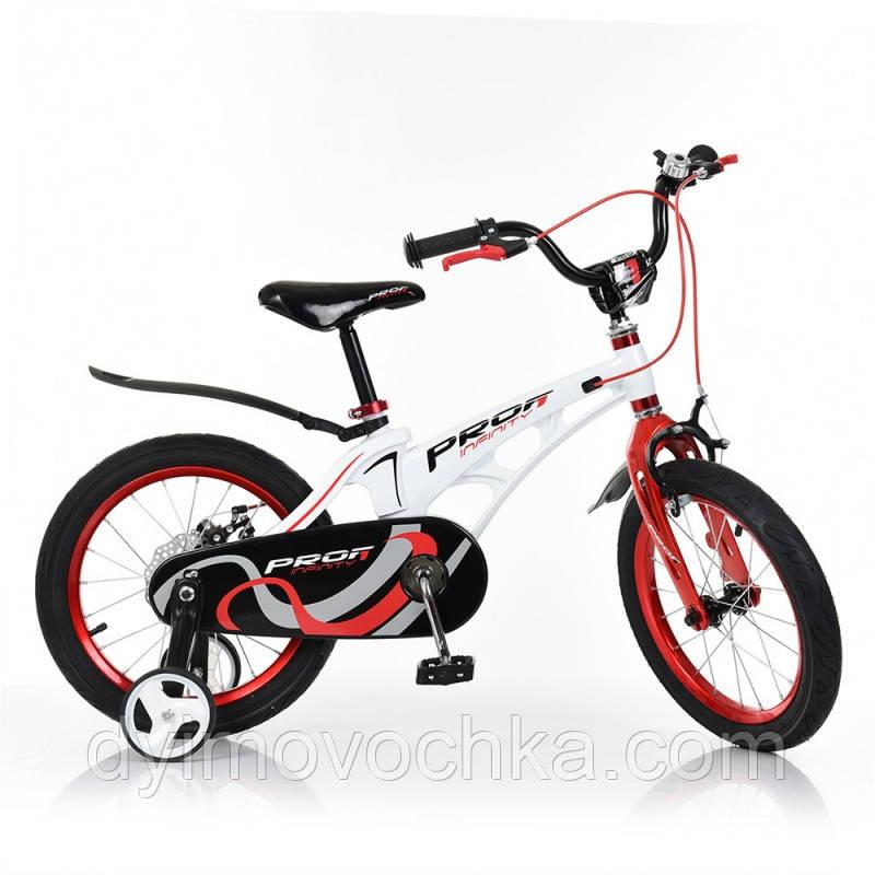 Велосипед детский PROF1 18д. LMG18202 (1шт) Infinity,магнез.рама,бело-красн,звонок,доп.кол
