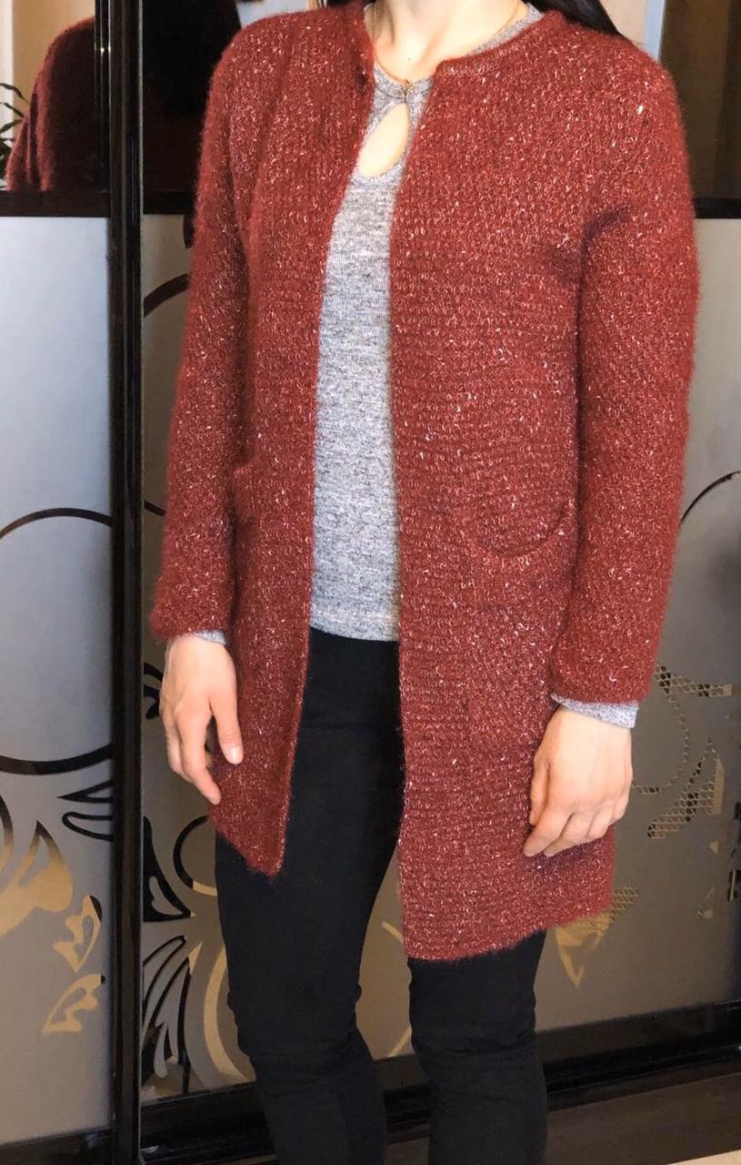 Кардиган женский с карманами машинная вязка 42 Бордовый
