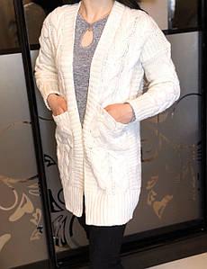 Кардиган женский крупная косичка длинный рукав 40 Бежевый