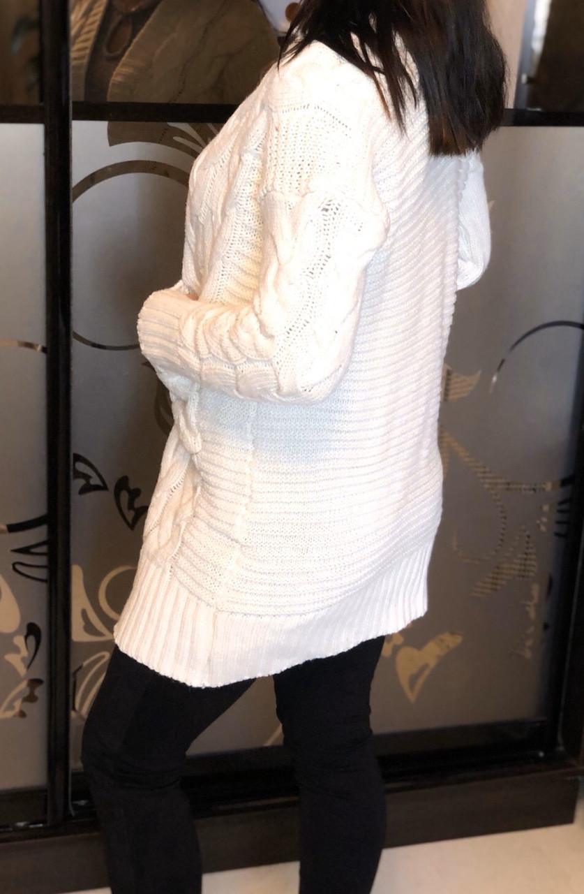 Кардиган женский крупная косичка длинный рукав 42 Бежевый