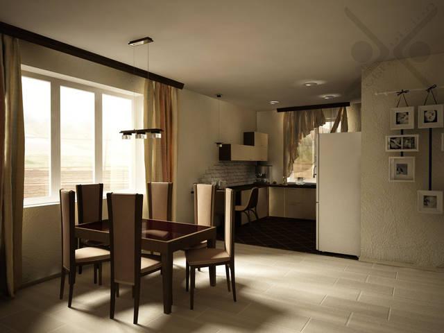 Объединенная гостиная и кухня в частном доме