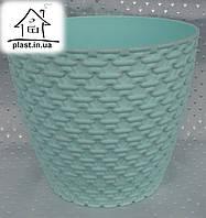 Горшок цветочный пластиковый Элиф пластик 0.75 л мятный