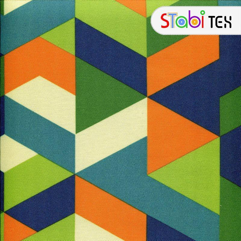 Ткань Дизайн 900Д ПВХ Треугольники Зеленый