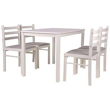 Комплект обеденный Брауни (стол+4 стула) белый шоколад/латте