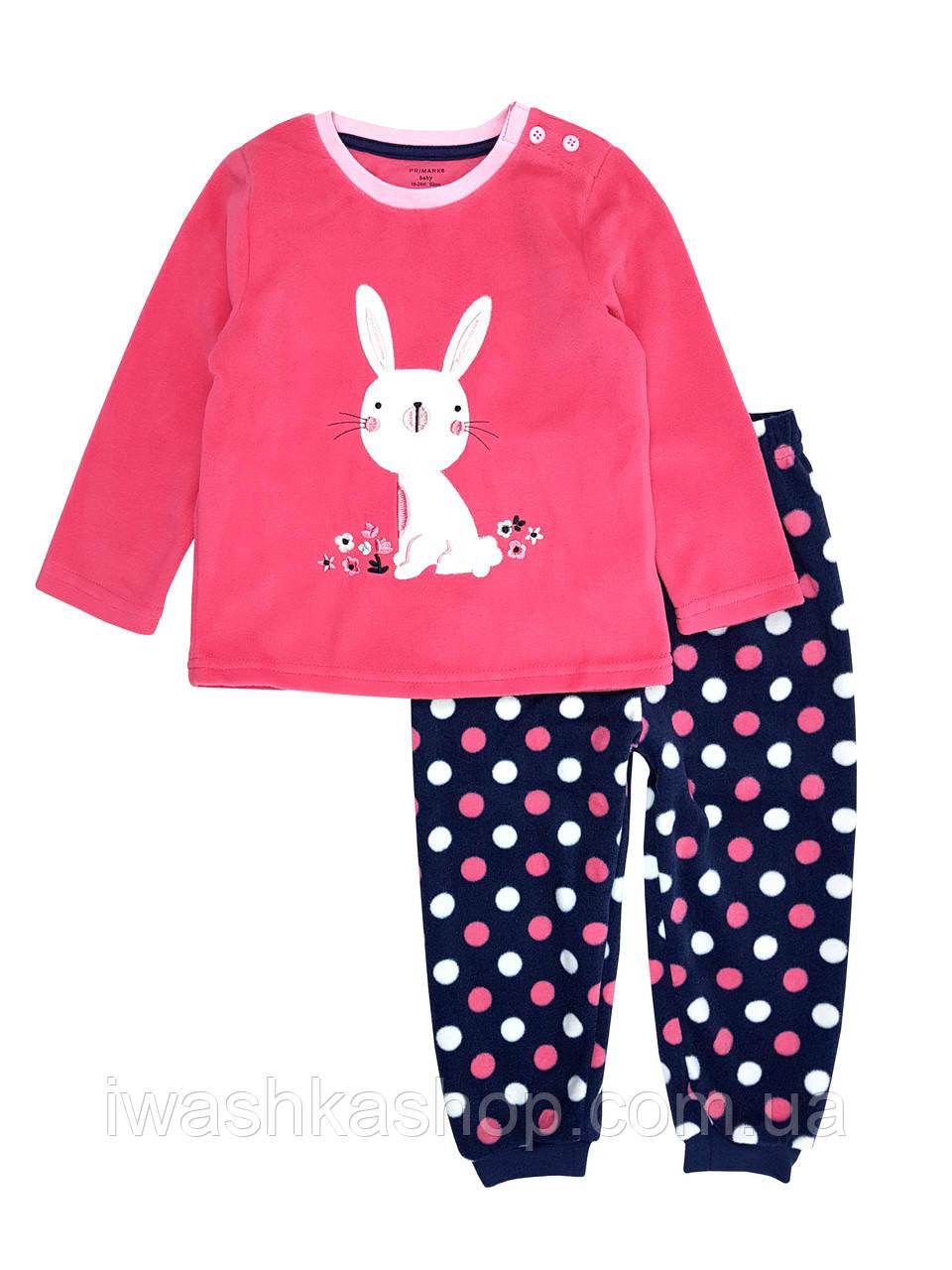 Теплая флисовая пижама с зайчиком для девочки 1,5 - 2 года, р. 92, Primark