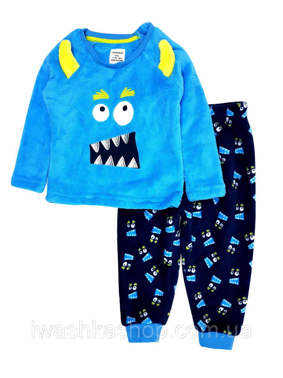 Теплая флисовая пижама велсофт с монстриком на мальчика 1,5 - 2 года, р. 92, Primark