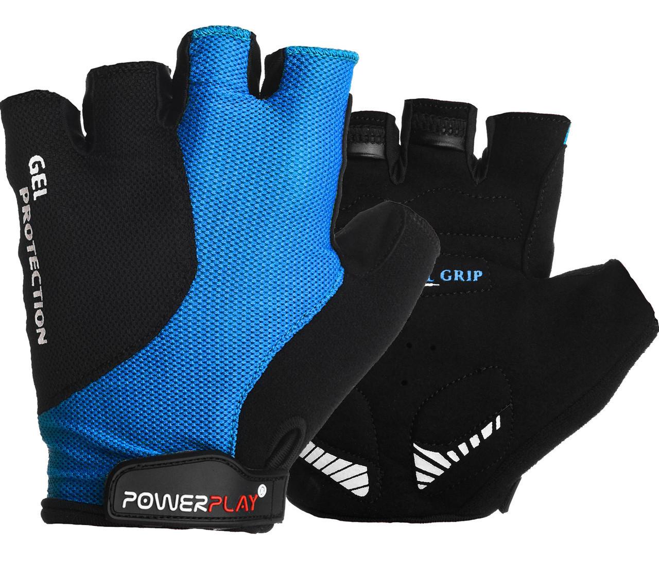 Перчатки велосипедные ӏ велоперчатки 5028 C Чорно-блакитні XS