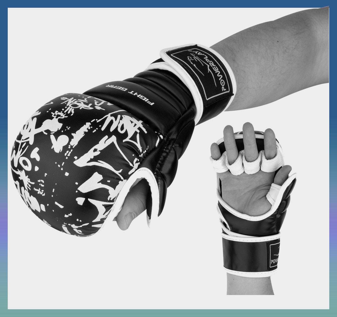 Перчатки накладки для карате Чорні-Білі M