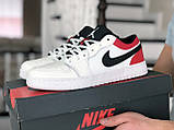 Мужские весенние кожанные кроссовки бело/красные Air Jordan 1 Low, фото 2