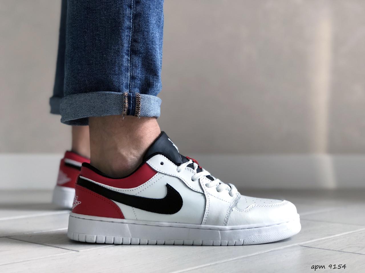 Мужские весенние кожанные кроссовки бело/красные Air Jordan 1 Low