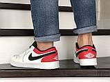 Мужские весенние кожанные кроссовки бело/красные Air Jordan 1 Low, фото 3