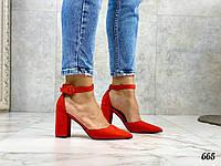 Код 665 Туфли Jessy с ремешком Материал: эко-замш Каблук: 8 см Цвет: красный Размеры: 36-40 ( в размер)