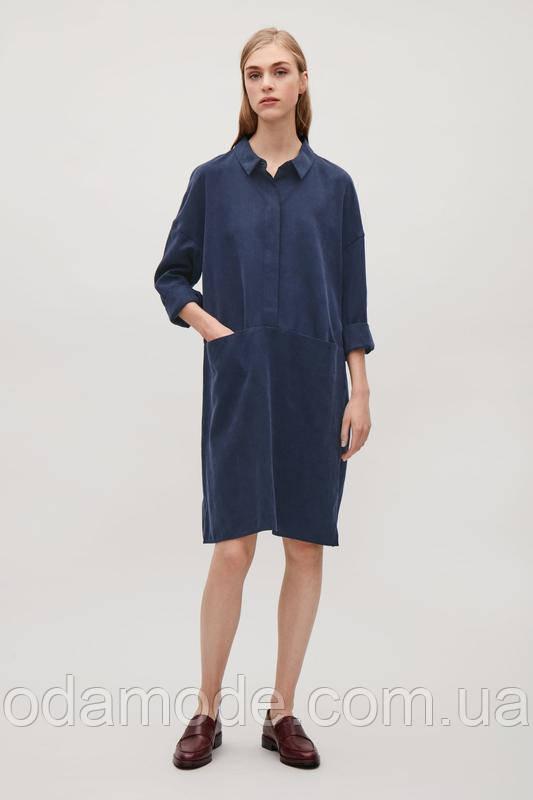 Платье женское синее на пуговицах COS