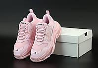 Женские кроссовки Balenciaga Triple S розового цвета (Баленсиага на высокой подошве)