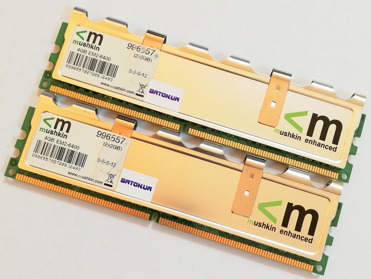 Пара игровой оперативной памяти Mushkin DDR2 4Gb KIT of 2 800MHz PC2 6400U CL5 (996557) Б/У