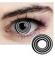 Цветные линзы для глаз спираль, белые гипнотические + контейнер для линз в подарок
