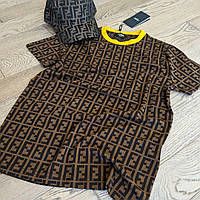 Мужская футболка Fendi CK172 коричневая
