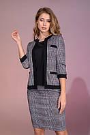 Женский стильный костюм тройка-майка,юбка,пиджак размеры от 42 до 56