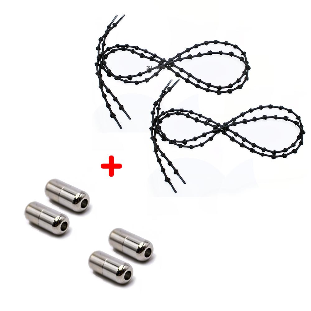 Шнурки для обуви 2Life эластичные с металлическими фиксаторами концов шнурка 2 пары в комплекте Черный (n-513)