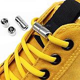 Шнурки для обуви 2Life эластичные с металлическими фиксаторами концов шнурка 2 пары в комплекте Черный (n-513), фото 5