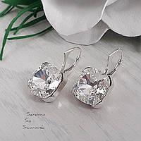 Сережки серебряные с крупными кристаллами Swarovski