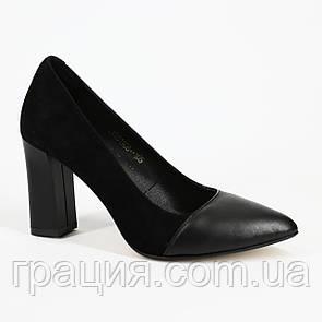 Элегантные женские туфли кожаные натуральные на каблуке
