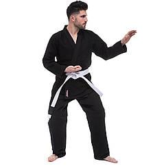Кимоно для джиу джитсу черное HARD TOUCH JJS (хлопок, р-р 1-5 (140-180см), плотность 350г на м2)