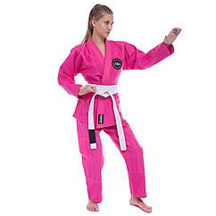 Кимоно женское для джиу джитсу розовое HARD TOUCH JJSL (хлопок, р-р 0-3 (130-160см), плотность 350г на м2)