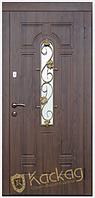Двери входные металлические Лиана со стеклом и ковкой серия Премиум 80