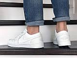 Мужские весенние кожанные кроссовки белые Air Jordan 1 Low, фото 2