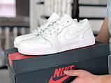 Мужские весенние кожанные кроссовки белые Air Jordan 1 Low, фото 3
