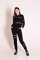 Спортивний костюм жіночий чорний з гоизонтальними вставками з чорної сітки