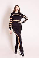 Спортивный костюм жіночий чорний з гоизонтальнимиі вертикальними вставками із леопардової сітки
