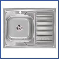 Мойка для кухни из нержавейки Imperial 6080-L Decor (IMP6080L06DEC) прямоугольная накладная с крылом