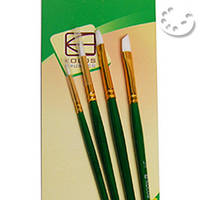 Набор кистей KOLOS, №7067, синтетика (нейлон) круглая, плоская и угловая, 4 шт.