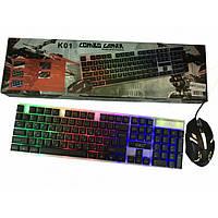 Проводной комплект клавиатура с мышкой Combo Gamer M 416  подсветкой