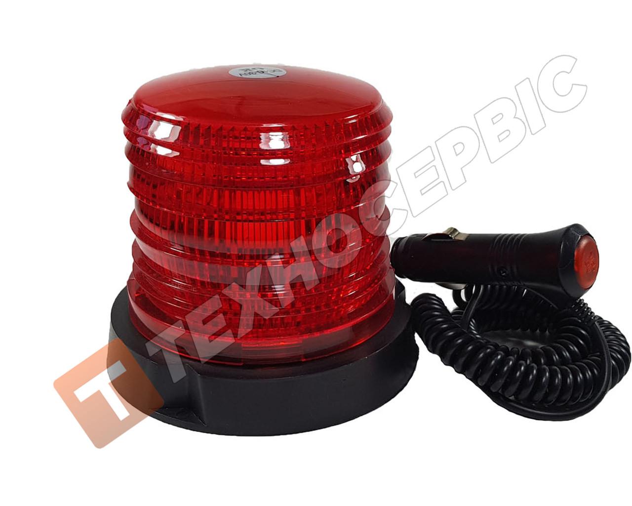 Маячок проблесковый,красный, светодиодный LED,12-24 Вольт (мигалка) магнитное крепление Турция 30 диодов