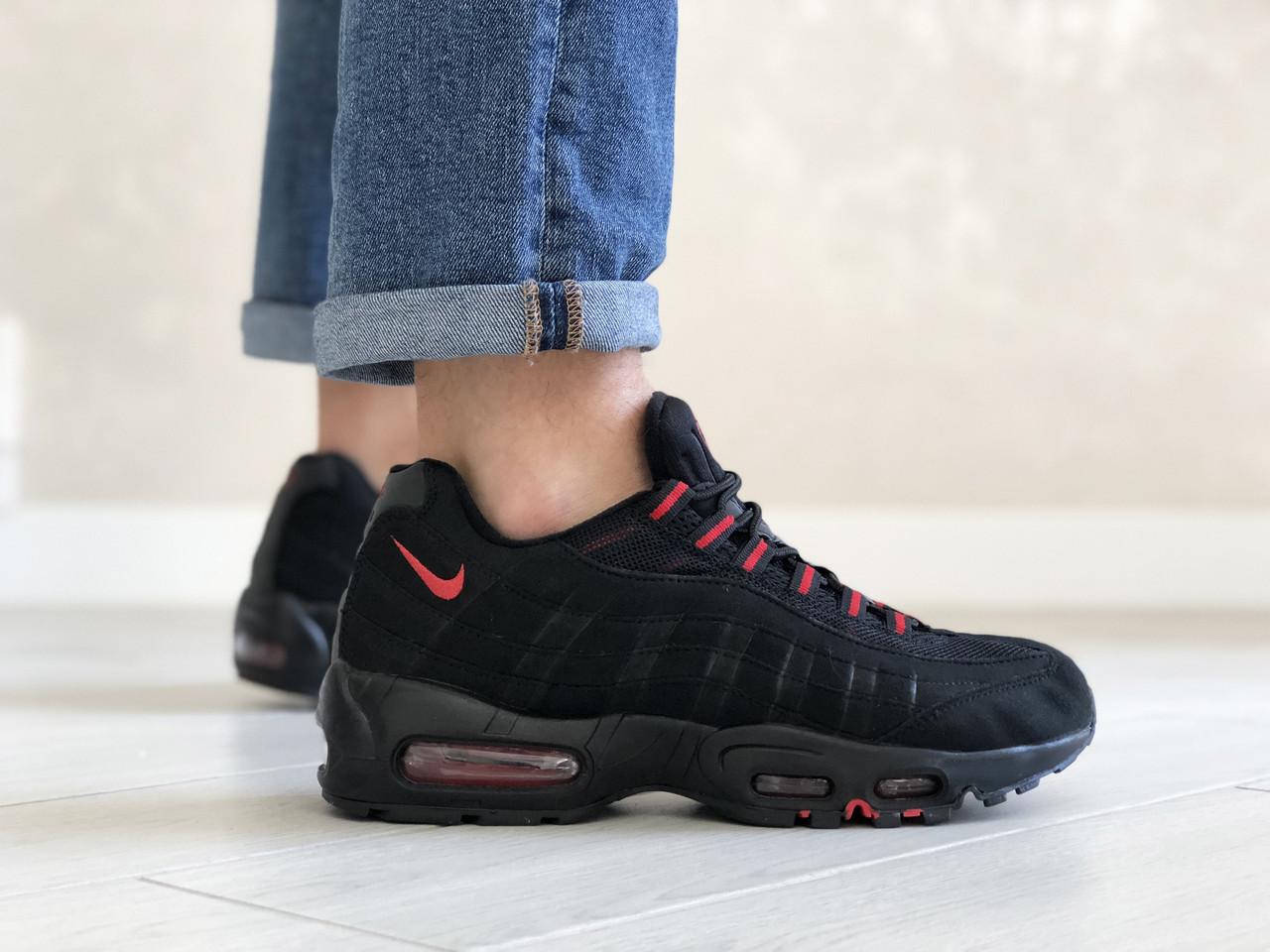 Мужские весенние кожанные кроссовки черно/красные Nike 95