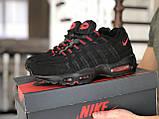 Мужские весенние кожанные кроссовки черно/красные Nike 95, фото 3