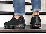 Мужские весенние кожанные кроссовки черно/красные Nike 95, фото 4