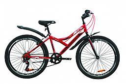 """Велосипед ST 24"""" Discovery FLINT Vbr с крылом Pl 2020 (красно-черный)"""