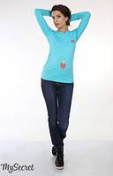 Джинсы для беременных скинни темно-синие с потертостями узкие