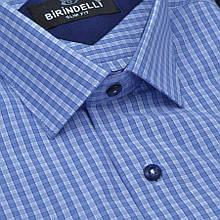Сорочка чоловіча, приталена (Slim Fit), з коротким рукавом Birindelli в клітинку 014000149 80% бавовна 20%