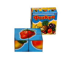 Кубики пластиковые 4 шт. Фрукты Технок, 1332