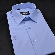 Сорочка чоловіча, приталена (Slim Fit), з коротким рукавом Birindelli однотонна 014000159 ГОЛУБА 80% бавовна 20% поліестер XL(Р)